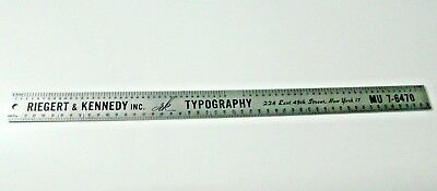 vintage 18 inch ruler metal reigert kennedy inc rk typography 228 e 45th st ny