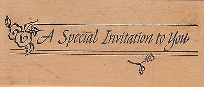 """special invitation to you unbranded Wood Mounted Rubber Stamp 1/2 x 3"""" Free Ship"""