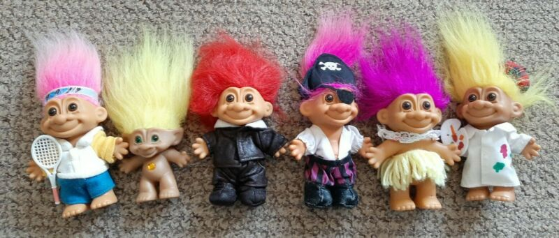 Job Lot Bundle Of Vintage Russ Trolls With Original Clothing Good Condition.