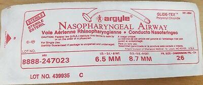 New Box Of 10 Argyle Nasopharyngeal Airway 6.5mm 26 Fr Ref 247023 Sterile