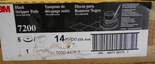 "FLOOR STRIPPER PADS, 14"" BLACK 7200, BOX OF 5, 175-600 RPM"