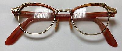Vtg Ladies 1950s Bausch & Lomb 1/10 12K GF Gold Trim Rx Eyeware Glasses 20[]44