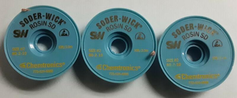 3 Spools of Chemtronics 80-2-10 Soder-Wick Rosin SD Desoldering Braid