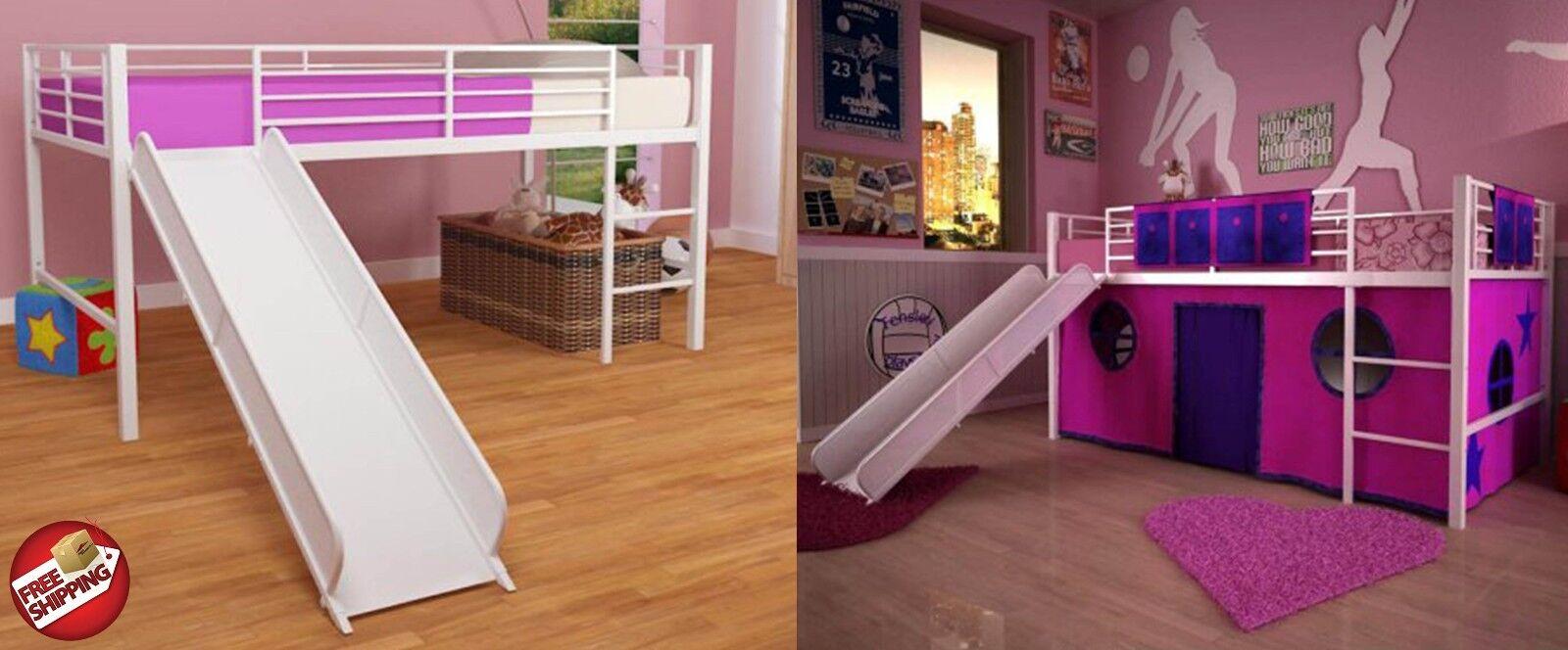White Loft Bunk Bed Slide Twin Tent Kids Girls Fort Metal Fantasy Loftbed Pink Ebay