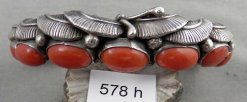 Fancy Heavy Carinated, Navajo Sterling, Coral, & Turquoise Bracelet, Signed!