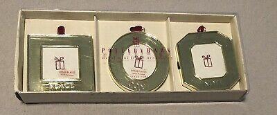 NIB 3 Pottery Barn Mini Christmas Ornament Frames Peace Joy Noel Brass Toned