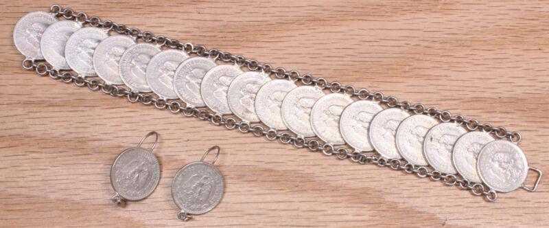 Lovley Vintage Mexico Coin Silver 20 Centavos Linked Bracelet Earring Set X215B