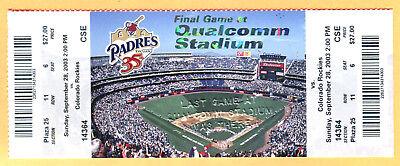 9/28/03 FULL TICKET-PADRES/ROCKIES-LAST GAME AT QUALCOMM/JACK MURPHY STADIUM for sale  Pasadena