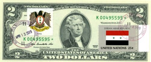 $2 DOLLARS 2009 STAR FLAG & COATS OF ARMS SYRIAN ARAB REPUBLIC LUCKY MONEY $500
