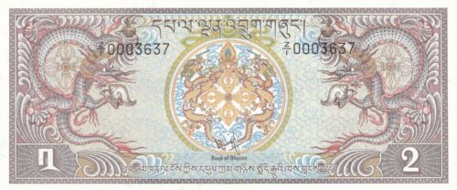 BHUTAN 2 Ngultrum 1981 P.6r REPLACEMENT NOTE Z/1 Pick 6 r - LESS THAN 20 KNOWN!