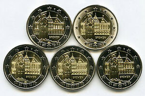 Germany-2010-5-x-2-Euro-Commemorative-Bremen-City-Hall-UNC