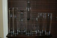 Wedding or home decor: 7 Tall clear glass vases