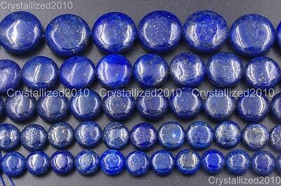 Natural Lapis Lazuli Gemstone Round Coin Candy Beads 10mm 12mm 14mm 16mm 16