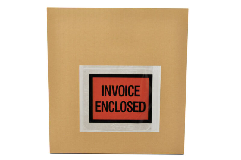 "Invoice Enclosed 4.5"" x 5.5"" Full Face Shipping Mailing Envelope 10000 Pieces"