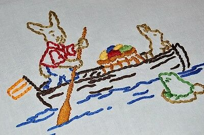 EASTER BUNNY HAS GONE FISHING! VTG GERMAN HAND EMB TABLECLOTH SQUIRREL FROG for sale  Shipping to Canada