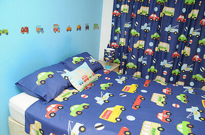 Boys Blue Transport Lined Bedroom Curtains - Car Bus Lorry Trucks ...