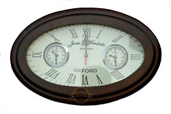 18 Vintage Style World Wall Clock OXFORD Oval Shape World Time Wall Clock Gift