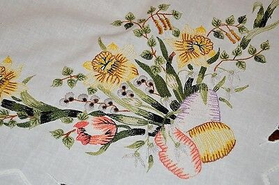 EASTER EGGS N GARDEN OF DAFFODILS & TULIPS! VTG GERMAN TABLECLOTH EYELET CUTWORK, used for sale  Shipping to Canada