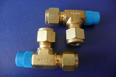swagelok brass T accepts 3//8 ID tubing