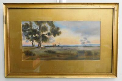 Early Australian Landscape Original Oil painting in Gilt Frame c1900s
