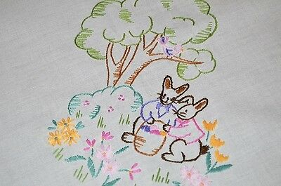 EASTER BUNNY DUO GATHER EGGS UNDER TREE! VTG GERMAN HAND EMB TABLECLOTH BIRD, used for sale  Shipping to Canada