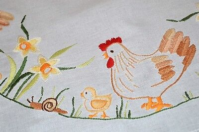 EASTER WREATH OF HENS & SNAILS & BABY CHICKS! VTG GERMAN HAND TABLECLOTH + FREE for sale  Shipping to Canada