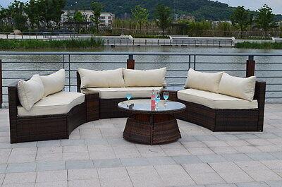 Curved 6 Seat Outdoor Wicker PE Rattan Sofa Lounger Patio Furniture Set  CREAM
