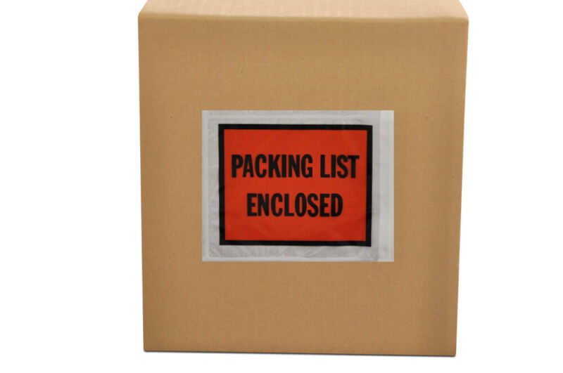 "(1000) 4.5"" x 5.5"" Packing List Enclosed Envelope - Full Face -1000 / Case"