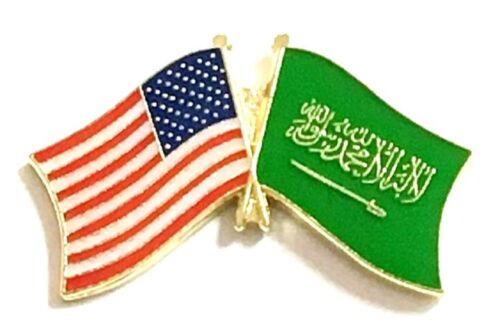 USA - SAUDI ARABIA FRIENDSHIP CROSSED FLAGS LAPEL PIN - NEW - COUNTRY PIN