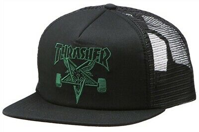6164be39813b Thrasher Magazine EMBROIDERED SKATE GOAT Skateboard Trucker Hat BLACK/GREEN