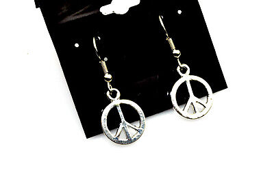 Small Peace Earrings Antiqued Silver Plated With Hypoallergenic Ear Wires Small Ear Plate