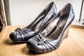 ALDO black leather wedges, size 4 (37), smart, classic, elegant, worn twice - £35