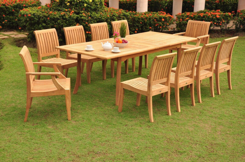 """11-piece Outdoor Teak Dining Set: 94"""" Rectangle Table, 10 Arm[less] Chairs Lagos"""