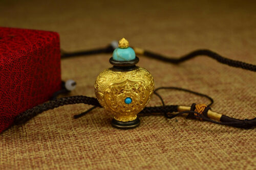TIBETAN NECTAR PILL RELICS HOLDER BUDDHIST AMULET CONCH SANKHA PENDANT NECKLACE