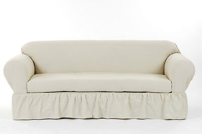 Cotton Loveseat - All Cotton 2-piece Ruffled Sofa Couch or Loveseat or Chair Slip cover + Cushion