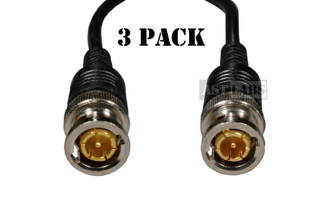 3-pack BNC Jumper Patch Cable Coaxial  Gold-Plated 50 ohm