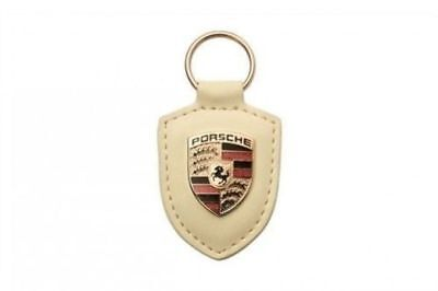 Genuine Porsche Leather Crest Key Fob WHITE Genuine keyring chain ring w/ emblem