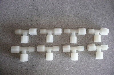 "One Lot Jaco White Nylon Run Tee Tube Fitting, 1/4"" Tube x 1/4"" Tube x 1/4"" mnpt"