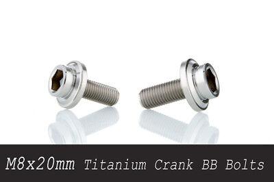Bottom Bracket Axle Bolt - (x2) Titanium Bicycle Crank Arm Bolts fit Bottom Bracket BB Axle Spindle M8x20mm