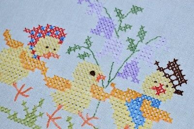EASTER CHICK FAMILY & THEIR LOVE OF HATS! VTG GERMAN HAND EMB LINEN TABLECLOTH for sale  Shipping to Canada