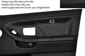 BLACK-LEATHER-2X-FRONT-DOOR-CARD-SKIN-COVERS-FITS-BMW-E36-SALOON-SEDAN-1991-1998