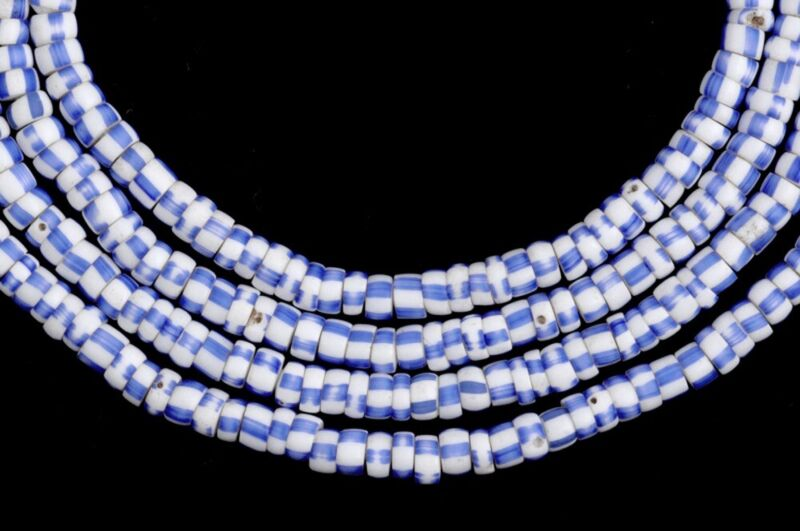 African trade beads tiny blue striped old Venetian glass seed beads Ghana Dipo