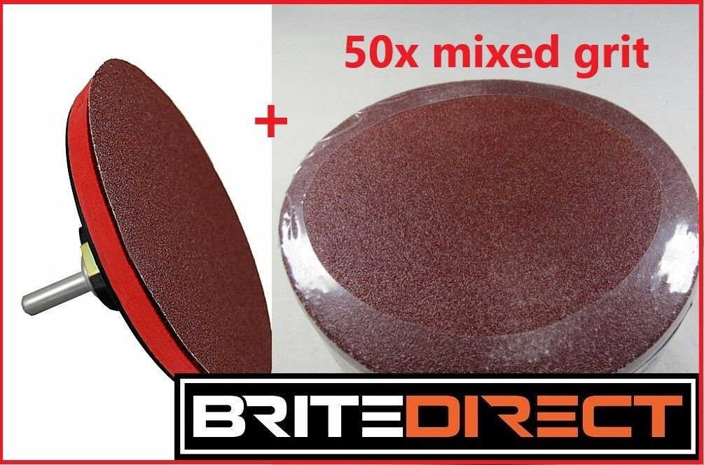 """50x Sanding Discs and Backing pad self adhesive 125 5"""" Great quality sanders sand paper wood metal"""
