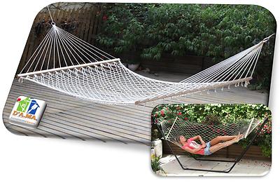 Amaca a rete singola e doppia con asse in legno da Giardino e Terrazzo per relax