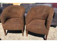 2 x brown tube chairs