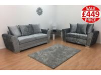 BRAND NEW VERMONT GLITZ 3 SEATER AND 2 SEATER SOFA SET FAST UK DELIVERY