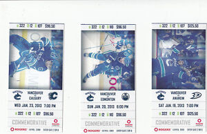 VANCOUVER CANUCKS VS EDMONTON OILERS FULL TICKET STUB 1/20/13 ALEX BURROWS
