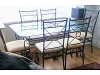 BEAUTIFUL GLASS AND METAL 6 CHAIR DINING TABLE SET