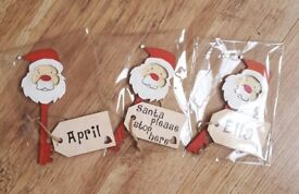 Wooden personalised Santa keys