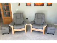 A pair of Ekornes Stressless Windsor Reclining Chairs with Foot Stools in Batik Wild Dove Leather